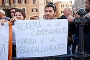 2013/04/18 Roma, proteste in piazza Montecitorio contro la mancata candidatura di Stefano Rodota' a presidente della Repubblica. Nella foto alcuni manifestanti dei Giovani Democratici.<br /> Rome, protests and demo in Piazza Montecitorio against the non-candidacy of Stefano Rodota ' for president . In the picture some protesters of Giovani Democratici, the juvenile organization of PD (Partito Democratico) hold note reading ' Rodota' is the change, Marini is the defeat ' - &copy; PIERPAOLO SCAVUZZO