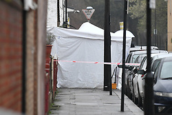 © Licensed to London News Pictures. 03/04/2018. London, UK. Police attend the scene in Chalgrove Road, Tottenham, north London after a 17 year old girl was shot dead. The girl was found with a bullet wound and pronounced dead at the scene at 21:43 last night. Photo credit: Ben Cawthra/LNP