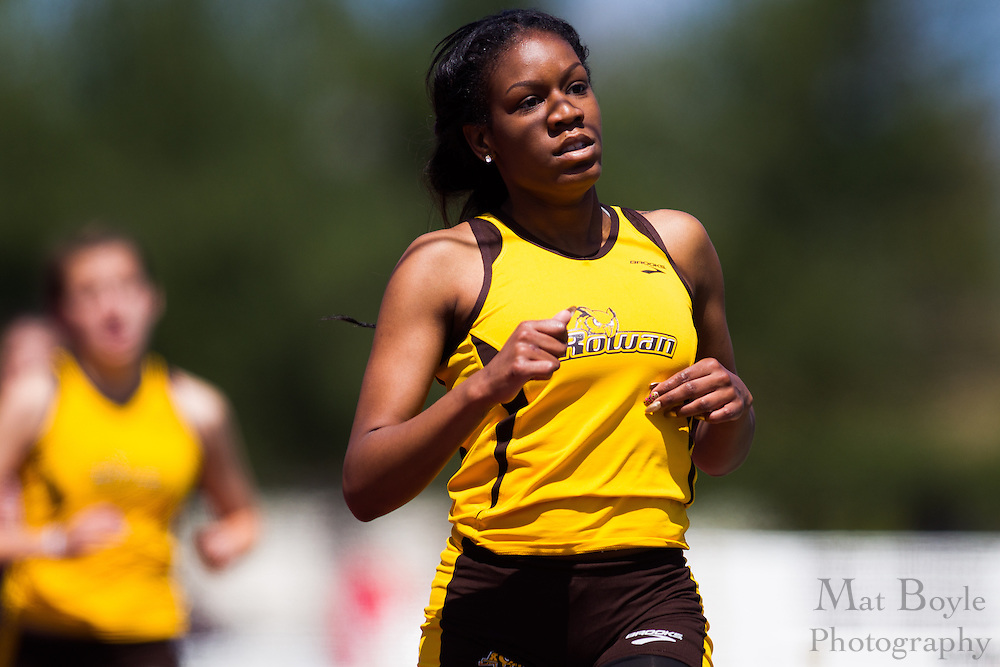 Rowan University's Alexus Streater competes in the women's 1500 meter at the NJAC Track and Field Championships at Richard Wacker Stadium on the campus of  Rowan University  in Glassboro, NJ on Sunday May 5, 2013. (photo / Mat Boyle)