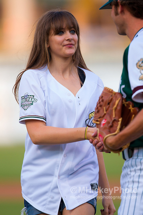 Paris Jackson throws out the first pitch at Gary Railcats baseball game at the Steelyard in Gary, Indiana. Paris Jackson throws out the first pitch at Gary Railcats game in Gary, Indiana.