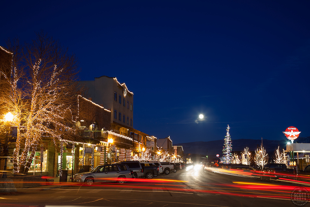 """Moon Over Truckee 4"" - Photograph of a moon rising over Truckee at night."