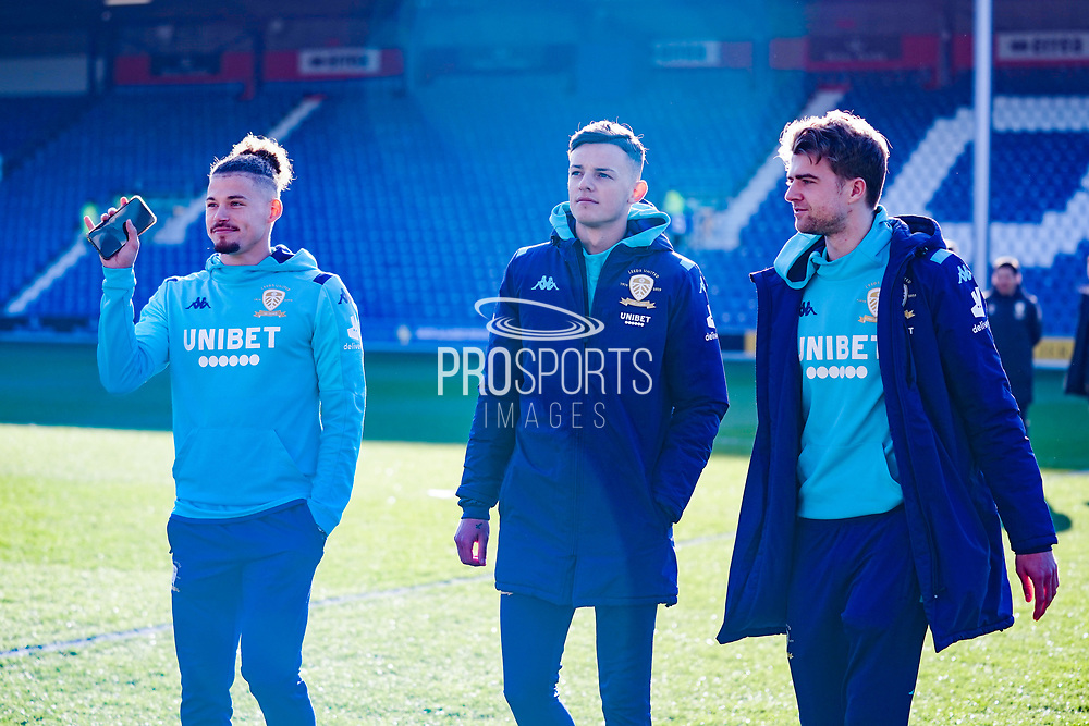 Leeds United midfielder Kalvin Phillips (23), Leeds United defender Ben White (5) and Leeds United forward Patrick Bamford (9) arrives at the ground during the EFL Sky Bet Championship match between Queens Park Rangers and Leeds United at the Kiyan Prince Foundation Stadium, London, England on 18 January 2020.