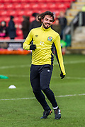 Blackburn Rovers Bradley Dack (23) warms up during the EFL Sky Bet League 1 match between Fleetwood Town and Blackburn Rovers at the Highbury Stadium, Fleetwood, England on 20 January 2018. Photo by Michal Karpiczenko.