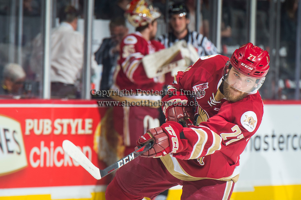 REGINA, SK - MAY 27: Ethan Crossman #27 of Acadie-Bathurst Titan warms up with a shot on net against the Regina Pats at the Brandt Centre on May 27, 2018 in Regina, Canada. (Photo by Marissa Baecker/CHL Images)
