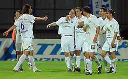 Darijo Biscan (7) of Celje and his team ( Uros Korun -88) celebrate his second goal at 30th Round of Slovenian First League football match between NK Domzale and NK MIK CM Celje in Sports park Domzale, on April 25, 2009, in Domzale, Slovenia. Celje won 3:0. (Photo by Vid Ponikvar / Sportida)