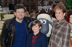 Andy Serkis, Louis and Lorraine Ashbourne  attend Shaun The Sheep Uk Premiere at Vue West End, Leicester Square, London on Sunday 25 January 2015