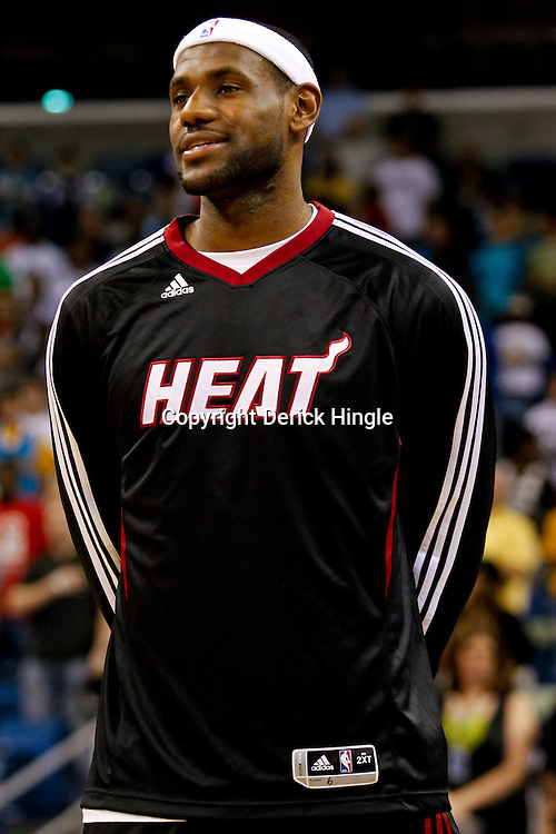October 13, 2010; New Orleans, LA, USA; Miami Heat small forward LeBron James (6) stands for the national anthem prior to tip off of a preseason game against the New Orleans Hornets at the New Orleans Arena. The Hornets defeated the Heat 90-76. Mandatory Credit: Derick E. Hingle