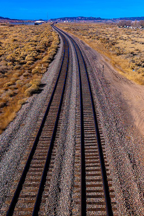 Overview of train tracks near Gallup, New Mexico USA.