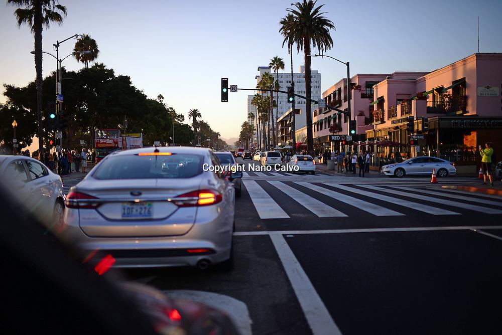 Streets of Santa Monica at sunset, California.