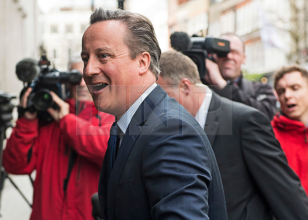 © Licensed to London News Pictures. 09/04/2016. London, UK.  DAVID CAMERON arrives for the Conservative Party Spring Forum in central London.  Conservative party leader and British prime minster David Cameron has come under pressure after it was revealed that he had  investment in an offshore fund.  Photo credit: Ben Cawthra/LNP