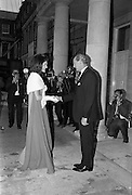 An Taoiseach Jack Lynch T.D. entertains Mrs. Jackie Kennedy at a reception at St. Patrick's Hall, Dublin Castle..30.06.1967