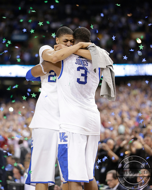 Anthony Davis hugs Terrence Jones as Kentucky won it's 8th National championship over Kansas  67-59  on Monday  April 2, 2012 in New Orleans , LA. Photo by Mark Cornelison | Staff