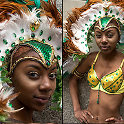 Mikerline Dance Company portraits of African American dancer  wearing Caribbean feather headdress, before the Annual Dance Parade in NYC.