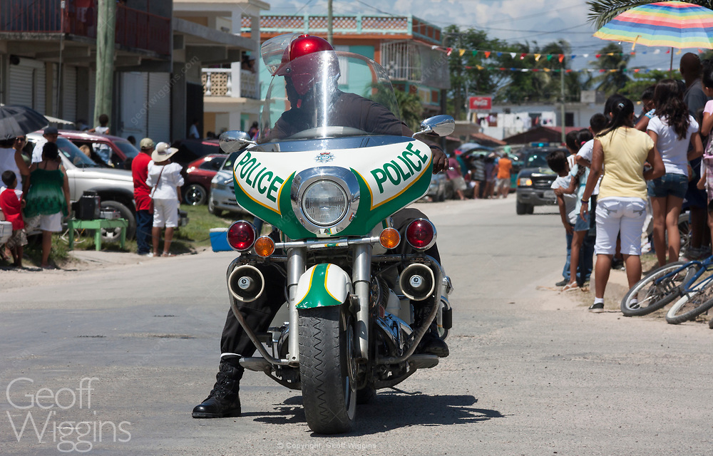 Belizean police highway patrol motorcycle. Corozal, Belize