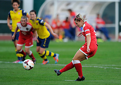Bristol Academy Women's Nikki Watts scores a penalty - Photo mandatory by-line: Dougie Allward/JMP - Mobile: 07966 386802 - 20/09/2014 - SPORT - FOOTBALL - Bristol - SGS Wise Campus - BAWFC v Arsenal Ladies - FA Womens Super League