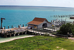Deckhouse and pier, Garden Key, Dry Tortugas National Park, Florida, United States of America