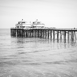 Manibu Pier coastal California black and white photo. Malibu is a beach city in Southern California in the United States of America. Copyright ⓒ 2015 Paul Velgos with All Rights Reserved.