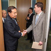 Houston ISD superintendent Dr. Terry Grier meets with a delegation of educators from the Renmin University of China at the Hattie Mae White building, April 15, 2013.