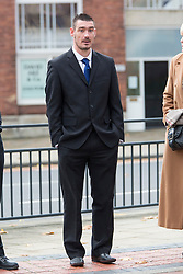 © Licensed to London News Pictures. 18/11/2015. Leeds UK. Richard Whitham, a former south Yorkshire Police officer arrives at Leeds Magistrates Court for sentence. Whitham was found guilty of assaulting a woman & convicted of two counts of common assault. He was placed on restricted duties when the allegations came to light. He was suspended from his position on April 16 when he was charged.<br /> Photo credit: Andrew McCaren/LNP