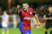 An unhappy Aldershot Town's Nick Arnold(2) tells the linesman what he thinks and gets a yellow card during the Vanarama National League match between Aldershot Town and Forest Green Rovers at the EBB Stadium, Aldershot, England on 4 October 2016. Photo by Shane Healey.