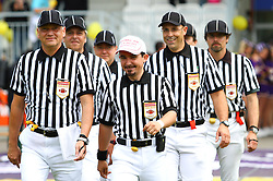 12.06.2011, Hohe Warte, Wien, AUT, AFL Halbfinale, Raiffeisen Vikings vs Turek Graz Giants, im Bild das Referee Team betritt das Spielfeld angefuehrt von Headreferee Bojan Savicevic,  EXPA Pictures © 2011, PhotoCredit: EXPA/ T. Haumer