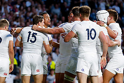 England Winger Anthony Watson (3l) celebrates scoring his second try of the game -  Mandatory byline: Rogan Thomson/JMP - 07966 386802 - 15/08/2015 - RUGBY UNION - Twickenham Stadium - London, England - England v France - QBE Internationals 2015.