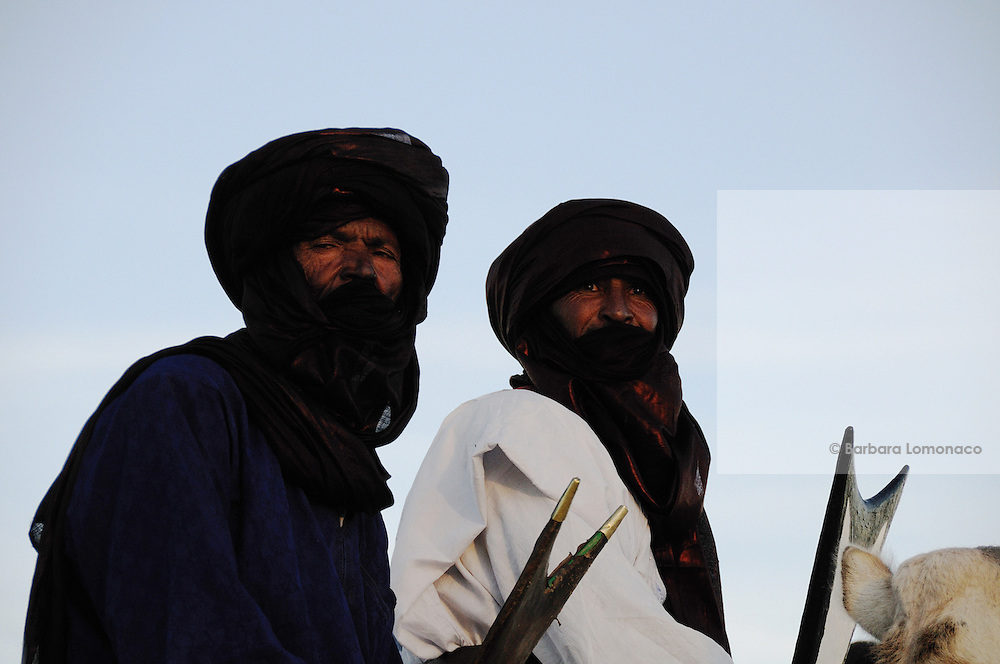Tuareg men on their camels in Timbuktu during the 2010 edition of the Festival au Désert