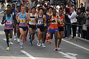 Sondre Nordstad Moen (NOR) defeats Bedan Karoki (KEN)  to win the 2017 Fukuoka Marathon in 2:05:48 in Fukuoka, Japan on Sunday, Dec. 3, 2017.  (Kazuaki Matsunaga/ Image of Sport)