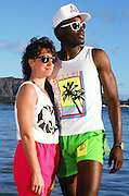 The American Football Conference New York Jets wide receiver Al Toon (88) poses for a photo with his wife at Waikiki Beach during the week before the 1989 NFL Pro Bowl football game against the National Football Conference on Jan. 24, 1989 in Honolulu. The NFC won the game 34-3. (©Paul Anthony Spinelli)