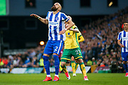 Brighton & Hove Albion full back Bruno Saltor (Captain) (2) has his eye on the ball during the EFL Sky Bet Championship match between Norwich City and Brighton and Hove Albion at Carrow Road, Norwich, England on 21 April 2017. Photo by Simon Davies.
