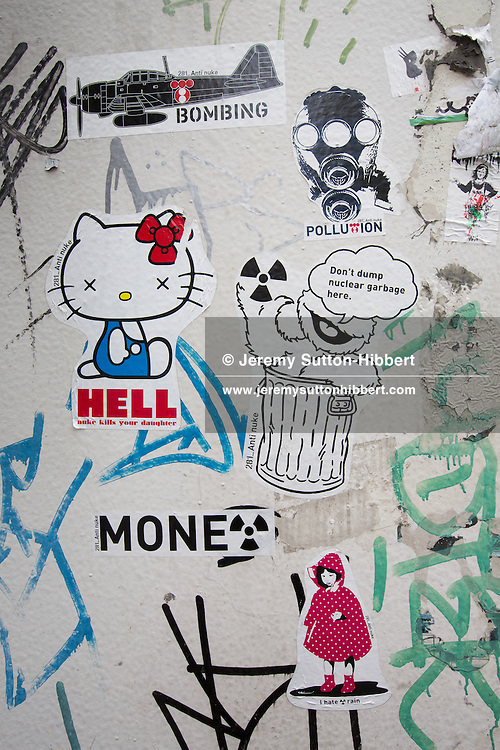 Anti-nuclear and Anti-TEPCO stickers, by '281 Anti Nuke', in Tokyo, Japan, Wednesday 11th April 2012.
