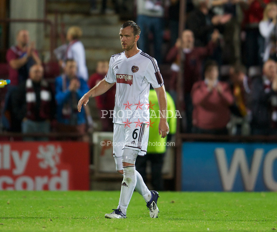 EDINBURGH, SCOTLAND - Thursday, August 23, 2012: Heart of Midlothian's Andrew Webster, who scored an own-goal to seal a 1-0 victory for Liverpool, looks dejected as he walks off the pitch after the UEFA Europa League Play-Off Round 1st Leg match at Tynecastle. (Pic by David Rawcliffe/Propaganda)