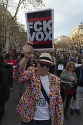 March 23, 2019 - Barcelona, Catalonia, Spain - About 2000 people have demonstrated in the streets of Barcelona, Spain, on 23 March 2019 against fascism and the rise of the extreme right, specifically the Vox party that with its fascist policy begins to emerge in Spain. (Credit Image: © Charlie PéRez/NurPhoto via ZUMA Press)
