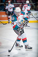 KELOWNA, CANADA - JANUARY 7: Tyson Baillie #24 of Kelowna Rockets warms up with the puck against the Vancouver Giants on January 7, 2015 at Prospera Place in Kelowna, British Columbia, Canada.  (Photo by Marissa Baecker/Shoot the Breeze)  *** Local Caption *** Tyson Baillie;