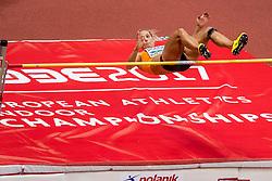 03-02-2017  SRB: European Athletics Championships indoor day 1, Belgrade<br /> In een lege Kombank Arena wordt de eerste dag van het Europees Kampioenschap gehouden / Nadine Broersen op het onderdeel hoogspringen