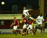 Photo: Aidan Ellis.<br /> York City v Bristol City. The FA Cup. 11/11/2006.<br /> Bristol's Jamie McCombe scores the only goal of the game