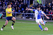 Blackburn Rovers Midfielder Craig Conway crosses  during the The FA Cup Fourth Round match between Oxford United and Blackburn Rovers at the Kassam Stadium, Oxford, England on 30 January 2016. Photo by Dennis Goodwin.