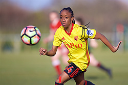 LIVERPOOL, ENGLAND - Sunday, February 4, 2018: Watford's Adekite Fatuga-Dada during the Women's FA Cup 4th Round match between Liverpool FC Ladies and Watford FC Ladies at Walton Hall Park. (Pic by David Rawcliffe/Propaganda)