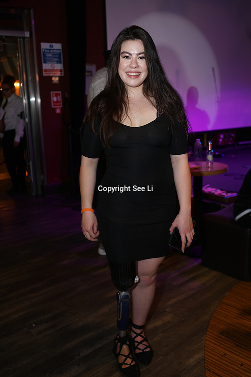 London,England,UK. 14th May 2017. Julie Rogers is a Paralympian attends the after party of the BBL Play-Off Finals also fundraising for Hoops Aid 2017 but also a major fundraising opportunity for the Sports Traider Charity at London's O2 Arena, UK. by See Li