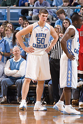 28 December 2006: North Carolina Tarheel forward (50) Tyler Hansbrough and guard (5) Ty Lawson during a 87-48 Rutgers Scarlet Knights loss to the North Carolina Tarheels, in the Dean Smith Center in Chapel Hill, NC.<br />