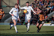 Gary Madine (Bolton Wanderers) controls the ball under pressure from Rory McArdle (Bradford City) during the EFL Sky Bet League 1 match between Bradford City and Bolton Wanderers at the Coral Windows Stadium, Bradford, England on 18 February 2017. Photo by Mark P Doherty.