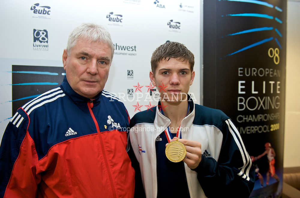 LIVERPOOL, ENGLAND - Saturday, November 15, 2008: Luke Campbell (ENG) celebrates winning the Bantamweight 54kg gold medal with GB head coach Terry Edwards during the 38th European Elite Boxing Championships at the Liverpool Arena. (Photo by David Rawcliffe/Propaganda)