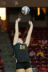 31 Aug 2010: Natalie Fiore sets.  The Illinois State Redbirds trumped the Rambles of Loyola-Chicago 3 sets to none at Redbird Arena on the campus of Illinois State University in Normal Illinois.