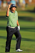 Jason Dufner celebrates a birdie putt on the 18th hole during the final round of the Transitions Chapionship on the Cooperhead Course at Innisbrook Resort and Golf Club on March 18, 2012 in Palm Harbor, Fla. ..©2012 Scott A. Miller.