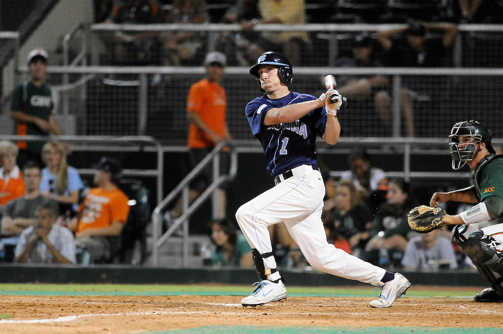 May 15, 2008 - Coral Gables, FL<br /> <br /> Kyle Shelton #1 of the University of North Carolina in action during the Tar Heels 12-2 defeat to the University of Miami Hurricanes at Mark Light Field at Alex Rodriguez Park in Coral Gables, Florida.<br /> <br /> JC Ridley/CSM