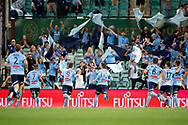 SYDNEY, AUSTRALIA - APRIL 06: Sydney FC celebrate the goal of midfielder Brandon O'neill (13) at round 24 of the Hyundai A-League Soccer between Sydney FC and Melbourne Victory on April 06, 2019, at The Sydney Cricket Ground in Sydney, Australia. (Photo by Speed Media/Icon Sportswire)