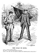 "The Road to Ruin. Labour. ""What's your game?"" Mr Smillie. ""I'm out for nationalisation."" Labour. ""Ah! And you're going to begin by nationalising starvation?"" (Robert Smillie stands infront of a mine and holds the Coal Strike flag during the InterWar era)"
