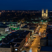 Downtown Guelph at night. Basilica of our lady and city hall clearly seen, as well as MacDonell street.