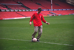 LIVERPOOL, ENGLAND - 1996: John Power of band Cast on the pitch at Anfield, home of Liverpool FC. (Pic by David Rawcliffe/Propaganda)