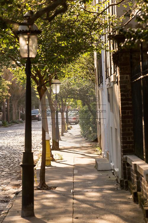 Historic cobble stone Chalmers Street in Charleston, SC.
